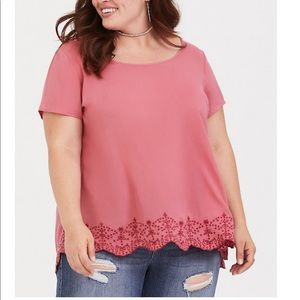 PINK EMBROIDERED CHALLIS BLOUSE